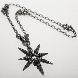 Shinobi Ninja Throwing Star Sterling Silver Link Chain Goth Punk Necklace