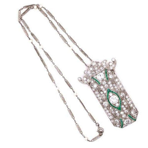 Diamond and Emerald Art Deco Style Platinum Brooch Pendant Necklace Fine Estate