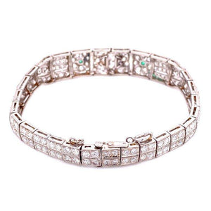 5.75 Carat Diamond and Emerald Art Deco Platinum Bracelet Estate Fine Jewelry