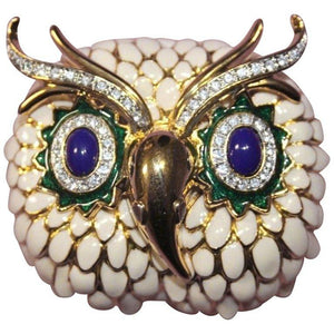 KJL Signed Kenneth J Lane Enamel and Crystal Gold Tone Snowy Owl Brooch Pin