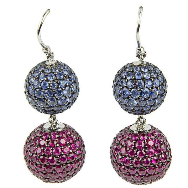 Ruby Blue Sapphire Gold Ball Drop Statement Earrings