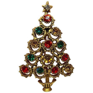 Butler & Wilson Designer Signed Faux Gemstone Christmas Tree Brooch Pin