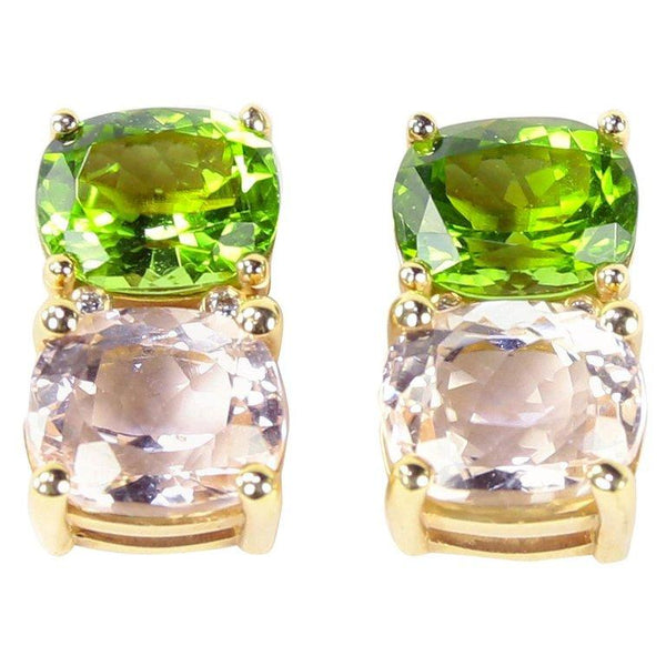 Coach House Exquisite Cushion-Cut Peridot and Pink Kunzite Gold Stud Earrings