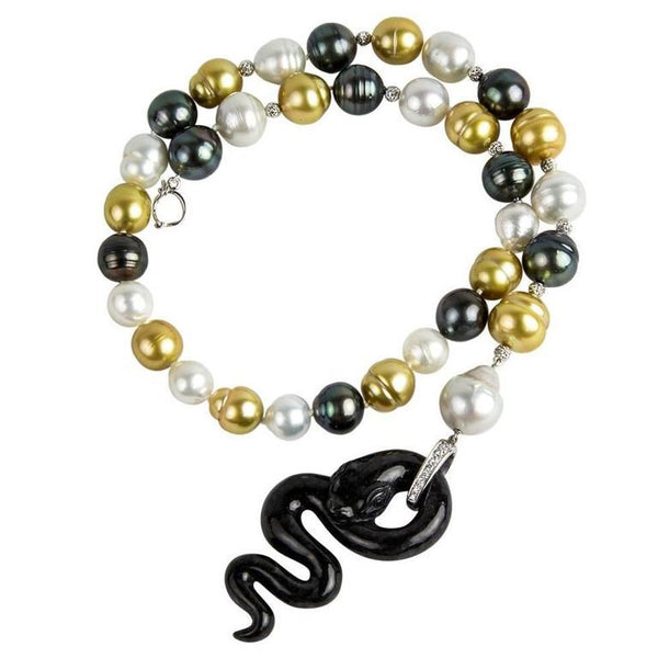 Black Jade Pearl Diamond 18Karat Gold Serpent Snake Necklace Estate Fine Jewelry