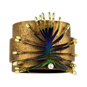 Stylized Peacock Feather Pendant on Leather Cuff