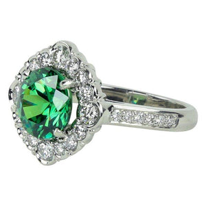 3.65 Carat Demantoid Garnet Diamond Platinum Engagement Ring