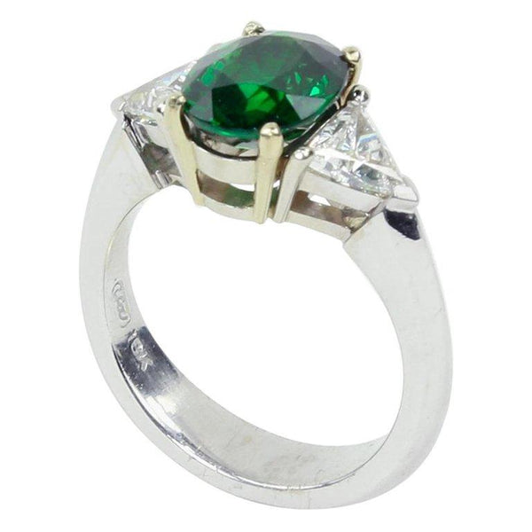 2.90 Carat Tsavorite Garnet Diamond Solitaire Gold Ring
