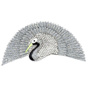Butler & Wilson Signed BW Silver Glitter Diamanté Bird Fan Tail Brooch Pin