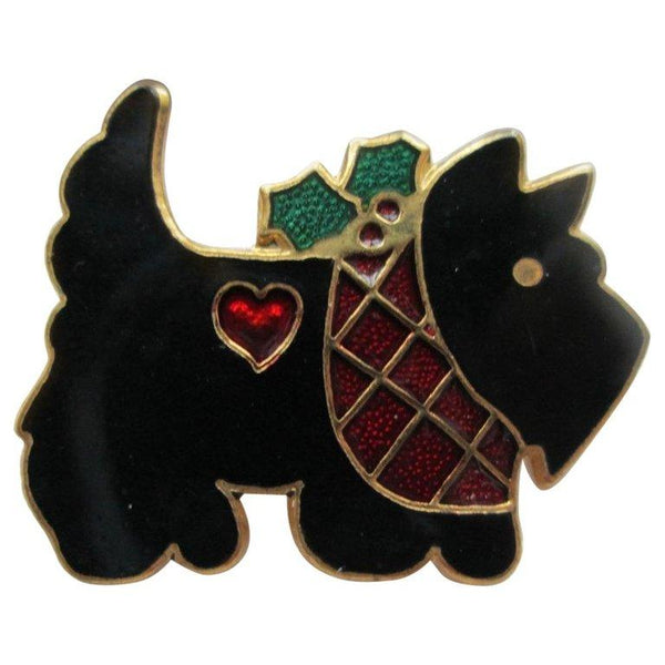 Black Enamel Scottish Terrier Dog Brooch Pin