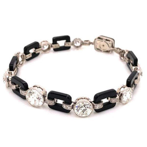 Art Deco 12.00 Diamond and Onyx Platinum Bracelet Fine Estate Jewelry