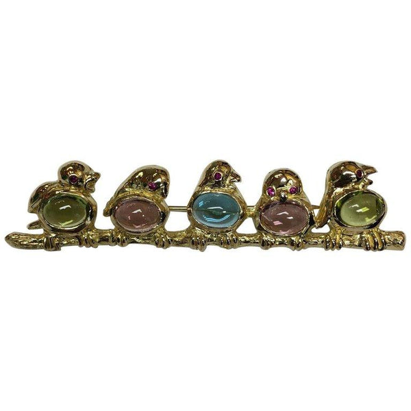Birds Perched on a Branch Multi Gem Stones Gold Brooch Pin