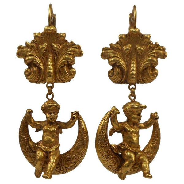 Fabulous Askew London Cherub and Moon Drop Earrings
