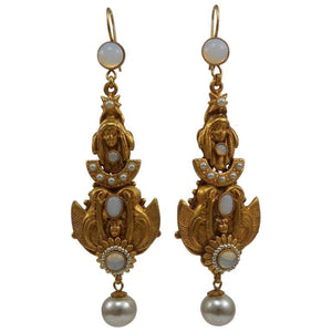 Askew London Winged Goddess and Maiden Drop Earrings