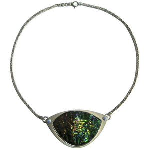 Ammolite and Diamond 18 Karat Gold Heirloom Quality Designer Pendant Necklace