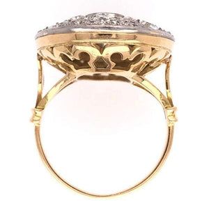 Art Deco Style Diamond Cluster Cocktail Platinum Gold Ring Fine Estate Jewelry