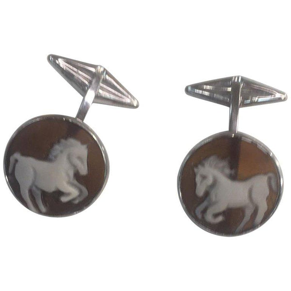 Equestrian Horse Shell Cameo Sterling Silver Heirloom Quality Cufflinks