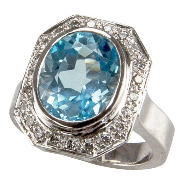 8.10 Carat Solitaire Blue Topaz Diamond Gold Ring