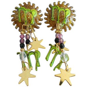 Estate LUNCH AT THE RITZ Enamel Celestial Sun Charm Dangle Earrings