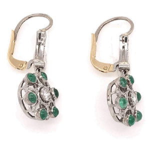 Emerald and Diamond Cluster Drop Platinum Earrings Estate Fine Jewelry