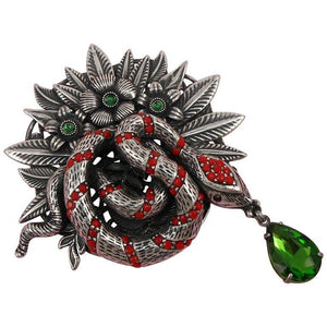 Awesome Signed Askew London Coiled Snake and Flower Leaf Estate Brooch Pin