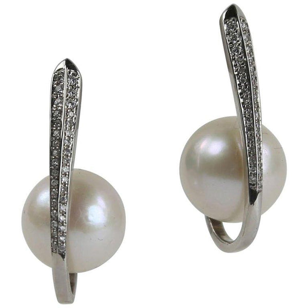 South Sea Pearl Diamond White Gold Heirloom Quality Drop Earrings
