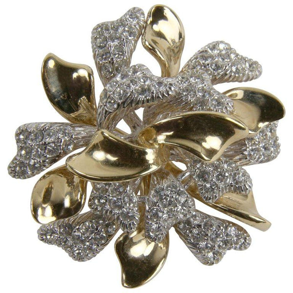 Stunning Vintage Designer CINER Signed Faux Diamond Estate Brooch Pin