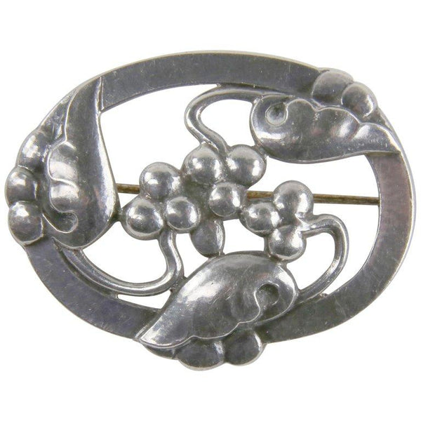 Georg Jensen Art Nouveau Grape Sterling Silver Brooch Pin Estate Fine Jewelry