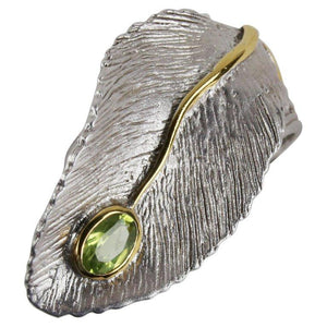 Vintage Peridot Leaf Ring 14K Gold Accents Sterling Silver Estate Fine Jewelry