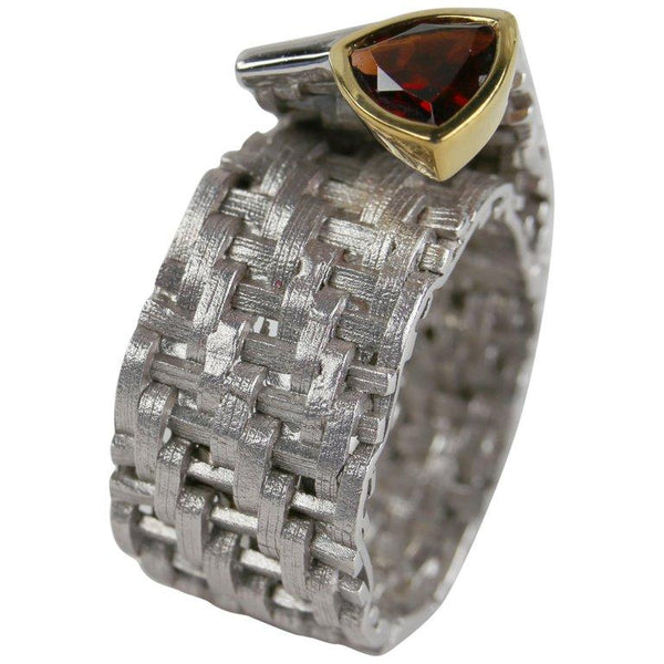 1.30 Carat Garnet 14 Karat Gold Accent Sterling Silver Ring Estate Fine Jewelry