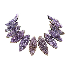 Gem Amethyst Marquise Druzy Silver Statement Necklace