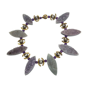 Coach House Gem Amethyst Druzy Silver Statement Necklace