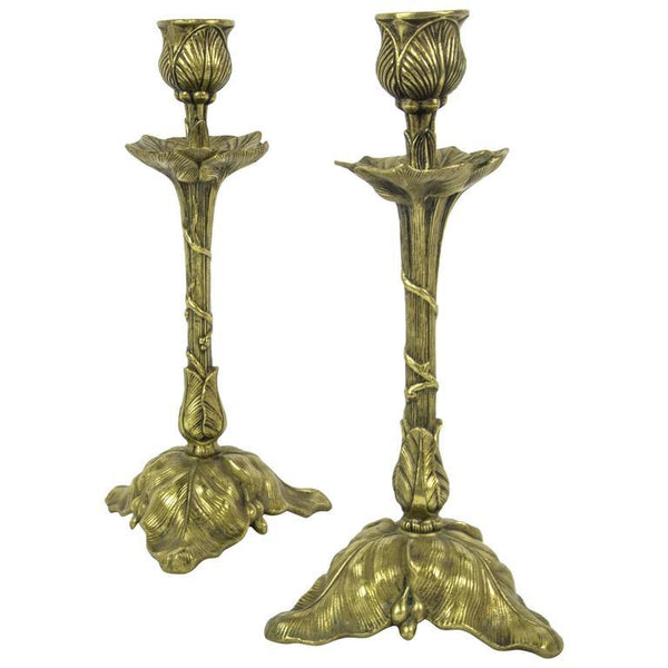 Art Nouveau Pair Brass Tulip Candlesticks France