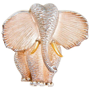 Estate Henry Dunay Elephant Brooch Pin Sterling Silver 18K Fine Designer Jewelry