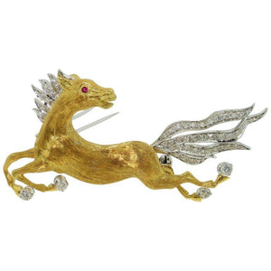 Vintage Galloping Horse Brooch Pin 18 Karat Gold Estate Fine Jewelry