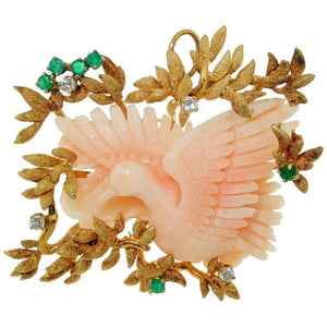 Angel Skin Coral Emerald Diamond Gold Brooch Pin Pendant Estate Fine Jewelry