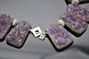 Natural Gem Amethyst Quartz Sterling Silver Statement Necklace