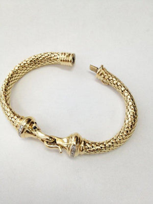 Diamond Gold Mesh Hook and Loop Bangle Bracelet