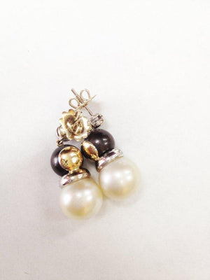 Tahitian and White Pearl Diamond Gold Earrings