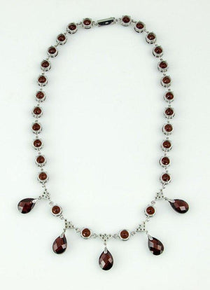 Modernist Garnet Diamond Gold Fringe Necklace