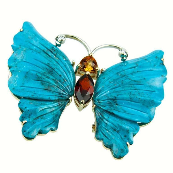 Turquoise Gold Butterfly Statement Brooch Pin Pendant