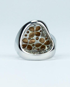 Beautiful Heart Within a Heart Diamond Gold Runway Ring