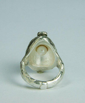 Walter Schluep Signed Pelican Figural Sterling Silver Pearl Ring