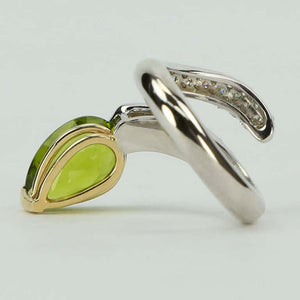 4.69 Carat Peridot Diamond White Gold Statement Snake Ring