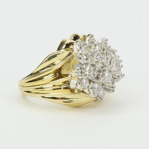 Coach House Diamond Two Color Gold Cluster Ring