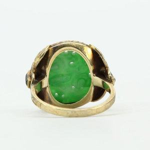 Antique Edwardian Carved Jade Onyx Gold Ring