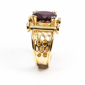 Coach House Chic Garnet Gold Lattice Beehive Ring