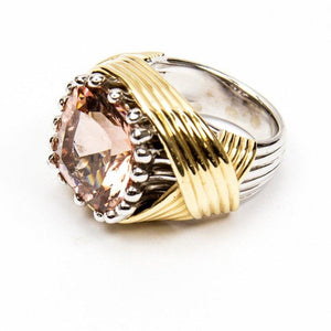 Coach House 10.65 Carat Solitaire Cushion Pink Morganite Gold Statement Ring
