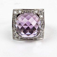 Amethyst Diamond Gold Statement Ring