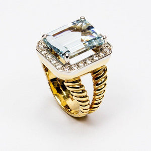 Step-Cut Aquamarine Diamond Gold Ring