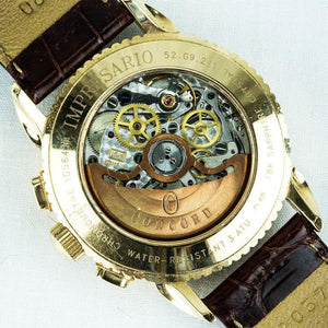 Concord Yellow Gold Impresario Triple-Calendar Date Chronograph Wristwatch